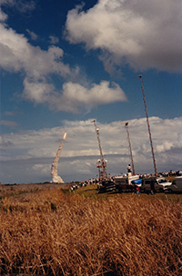 Several rockets launching into space