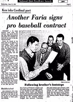 Newspaper Clipping with headling: Another Faria signs pro baseball contract