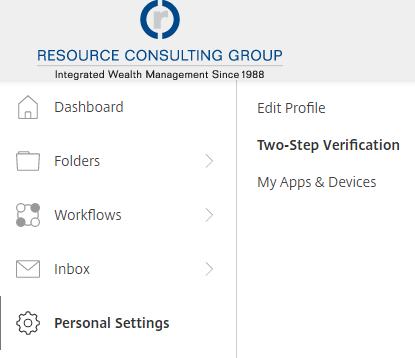 A screenshot showing how to get to two-factor authentication settings. It shows a left-most navigation column with the Personal Settings link selected in bold, followed by another navigation column with Two-Step Verification highlighted in bold.