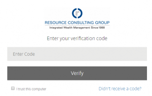 Screenshot of the verification code prompt that appears after log in, with a text box to enter the code. There is also a check box to trust the current browser and device to reduce subsequent verification code prompts.
