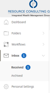 A screenshot showing a vertical list of navigation links on the left side of the screen. Inbox is shown in bold as well as Received below it.